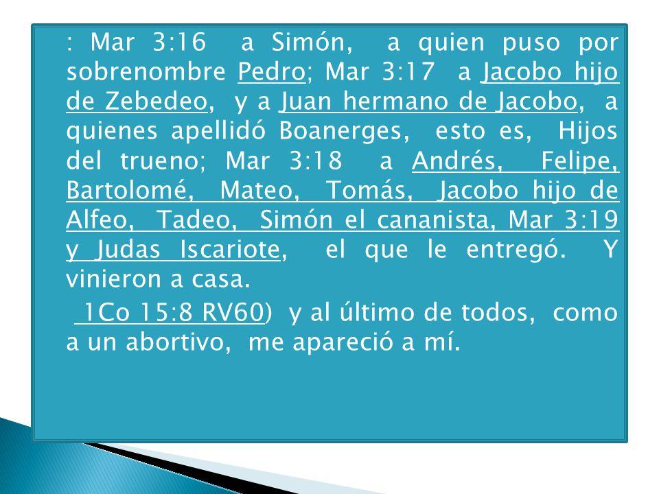: Mar 3:16 a Simón, a quien puso por sobrenombre Pedro; Mar 3:17 a Jacobo hijo de Zebedeo, y a Juan hermano de Jacobo, a quienes apellidó Boanerges, esto es, Hijos del trueno; Mar 3:18 a Andrés, Felipe, Bartolomé, Mateo, Tomás, Jacobo hijo de Alfeo, Tadeo, Simón el cananista, Mar 3:19 y Judas Iscariote, el que le entregó. Y vinieron a casa.