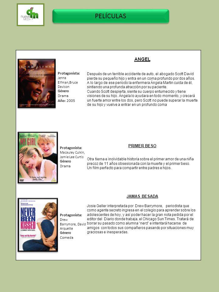 PELÍCULAS ANGEL Protagonista: PRIMER BESO Drama Año: 2005 JAMAS BESADA