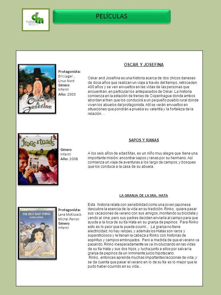 PELÍCULAS OSCAR Y JOSEFINA Protagonista: Año: 2003