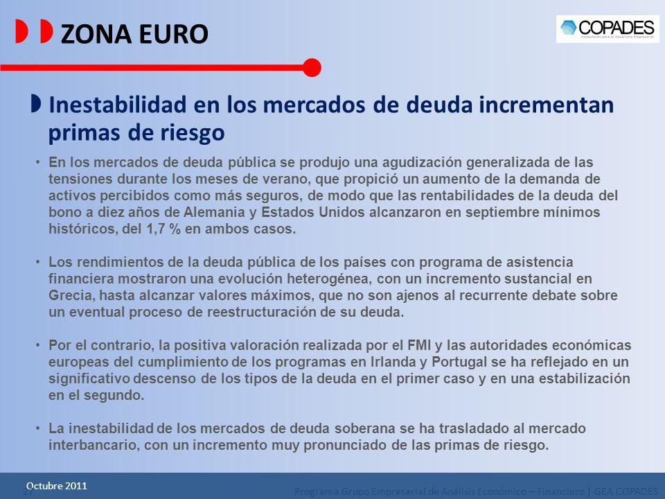   ZONA EURO  Inestabilidad en los mercados de deuda incrementan primas de riesgo.