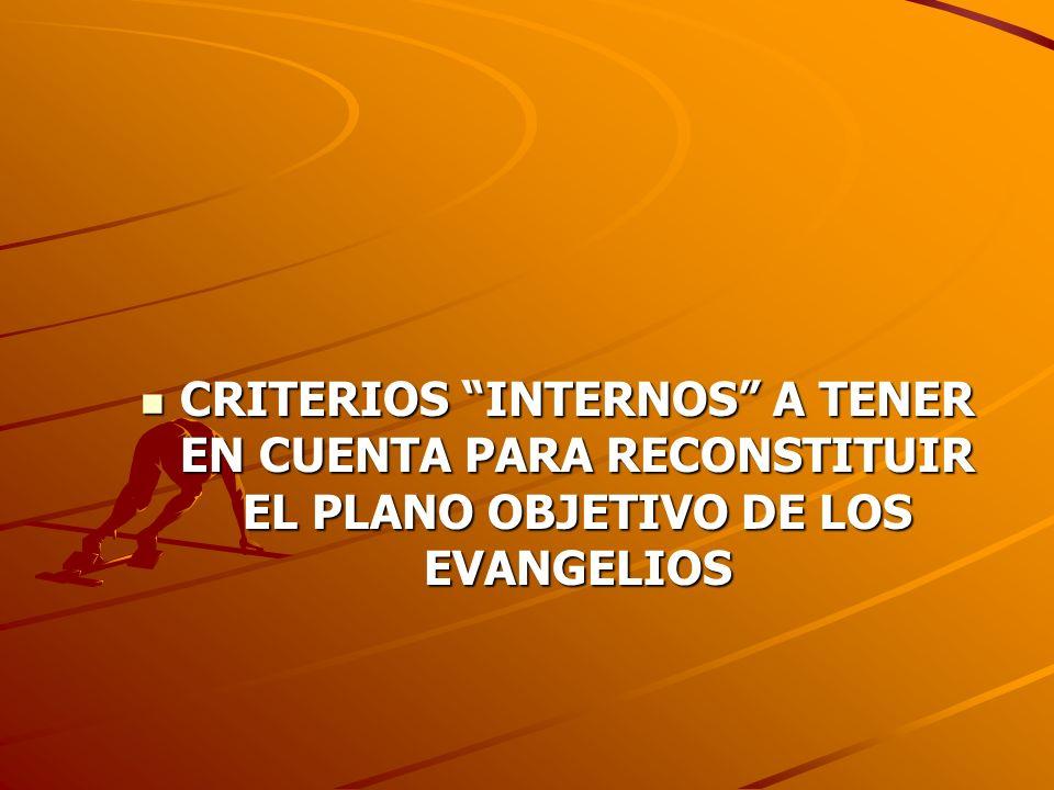 CRITERIOS INTERNOS A TENER EN CUENTA PARA RECONSTITUIR EL PLANO OBJETIVO DE LOS EVANGELIOS