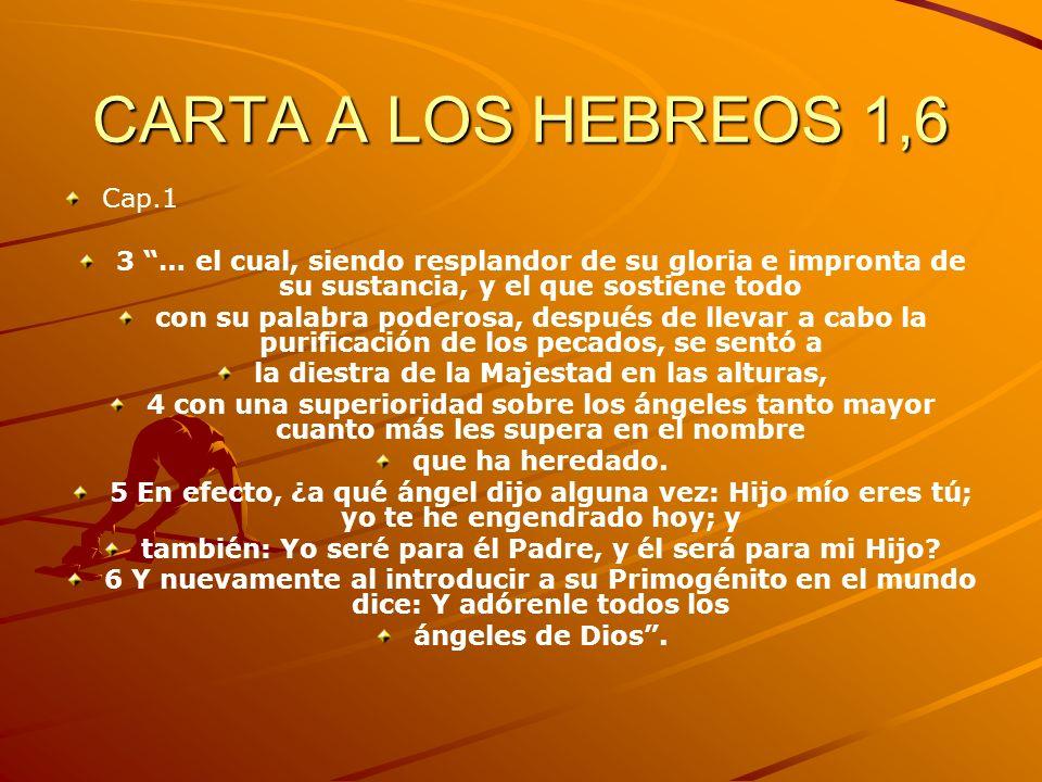 CARTA A LOS HEBREOS 1,6 Cap.1. 3 … el cual, siendo resplandor de su gloria e impronta de su sustancia, y el que sostiene todo.