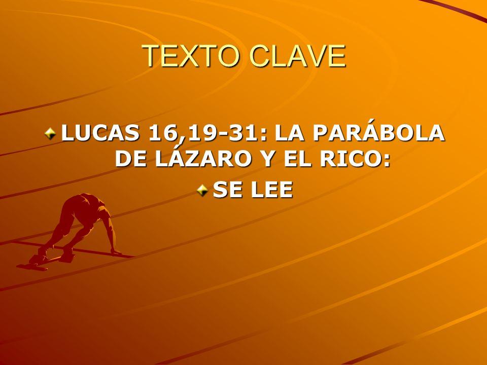 LUCAS 16,19-31: LA PARÁBOLA DE LÁZARO Y EL RICO: