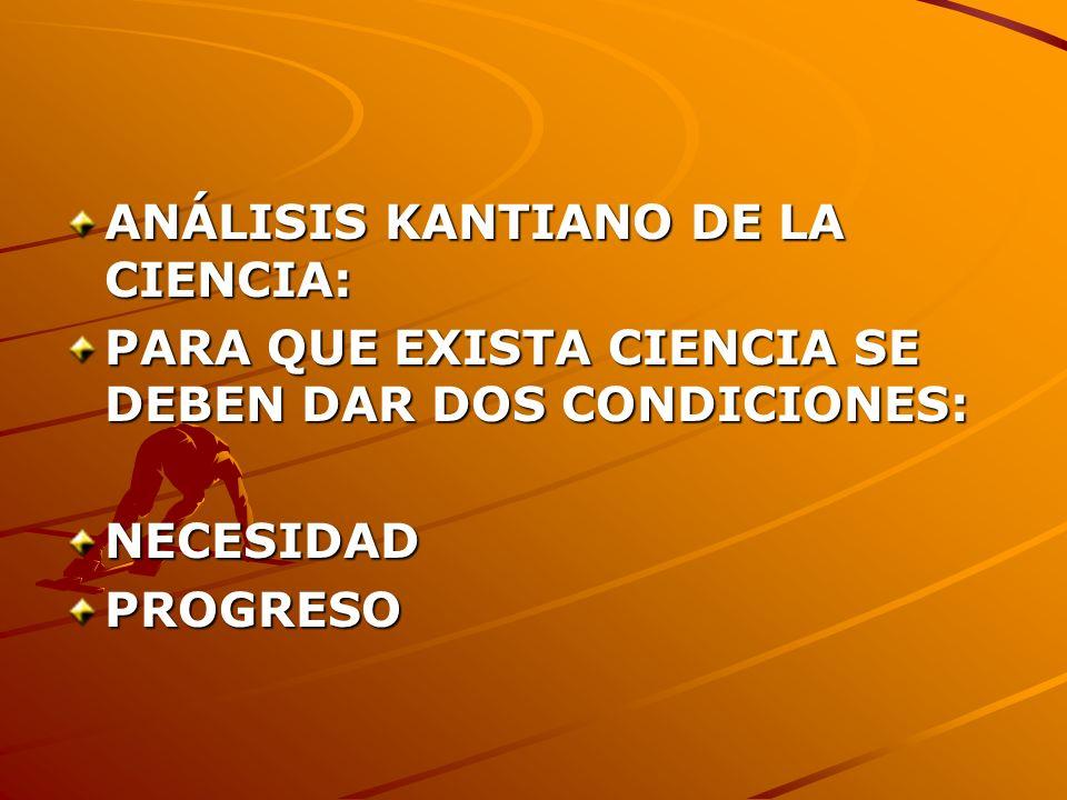 ANÁLISIS KANTIANO DE LA CIENCIA: