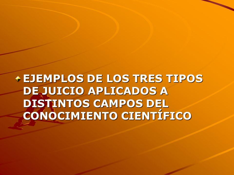 EJEMPLOS DE LOS TRES TIPOS DE JUICIO APLICADOS A DISTINTOS CAMPOS DEL CONOCIMIENTO CIENTÍFICO
