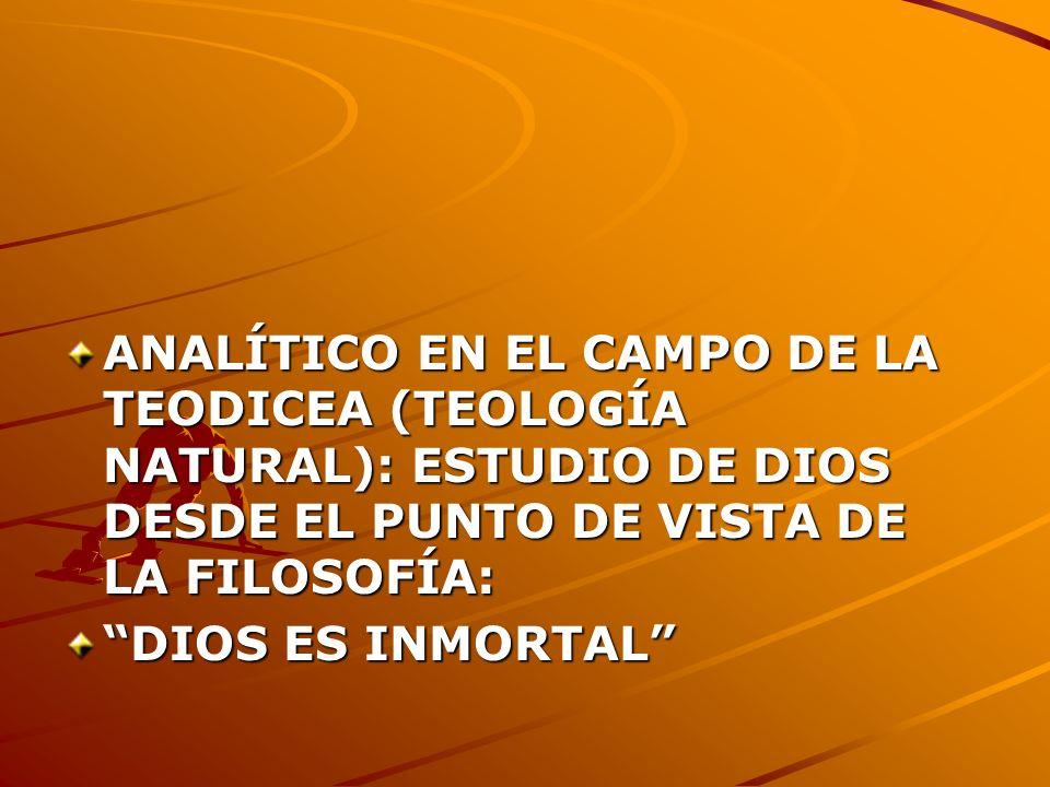 ANALÍTICO EN EL CAMPO DE LA TEODICEA (TEOLOGÍA NATURAL): ESTUDIO DE DIOS DESDE EL PUNTO DE VISTA DE LA FILOSOFÍA: