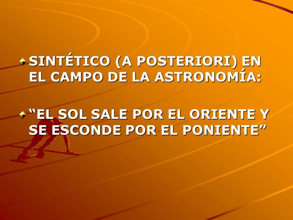 SINTÉTICO (A POSTERIORI) EN EL CAMPO DE LA ASTRONOMÍA: