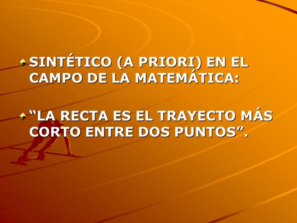 SINTÉTICO (A PRIORI) EN EL CAMPO DE LA MATEMÁTICA: