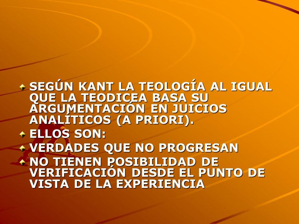 SEGÚN KANT LA TEOLOGÍA AL IGUAL QUE LA TEODICEA BASA SU ARGUMENTACIÓN EN JUICIOS ANALÍTICOS (A PRIORI).