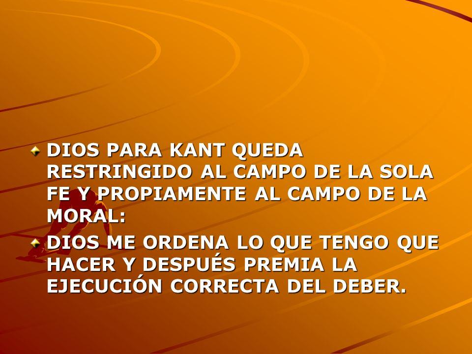 DIOS PARA KANT QUEDA RESTRINGIDO AL CAMPO DE LA SOLA FE Y PROPIAMENTE AL CAMPO DE LA MORAL:
