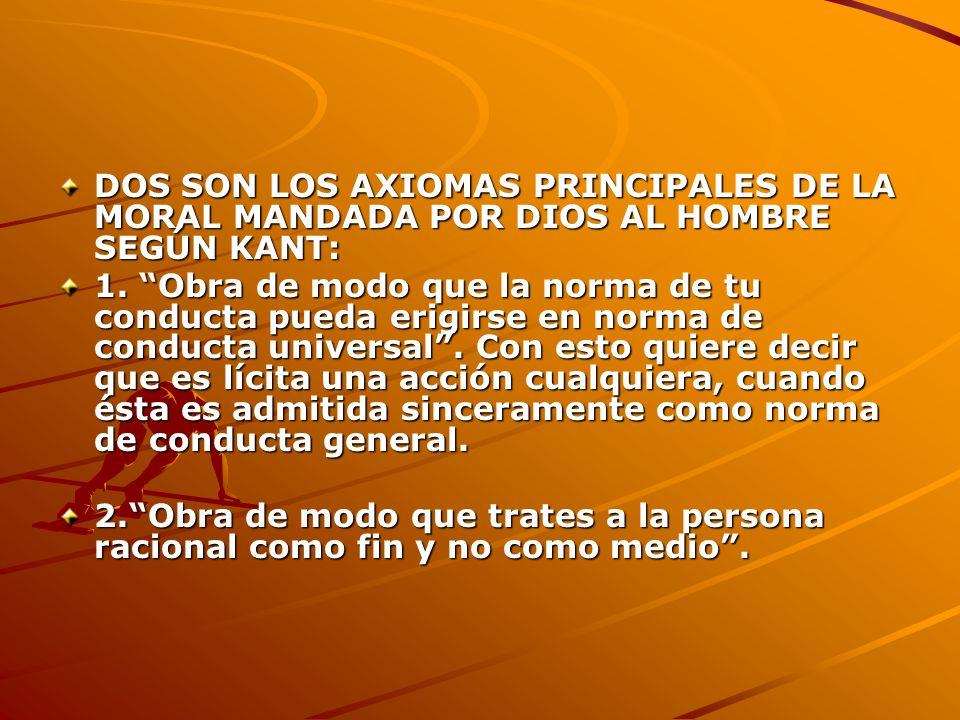 DOS SON LOS AXIOMAS PRINCIPALES DE LA MORAL MANDADA POR DIOS AL HOMBRE SEGÚN KANT: