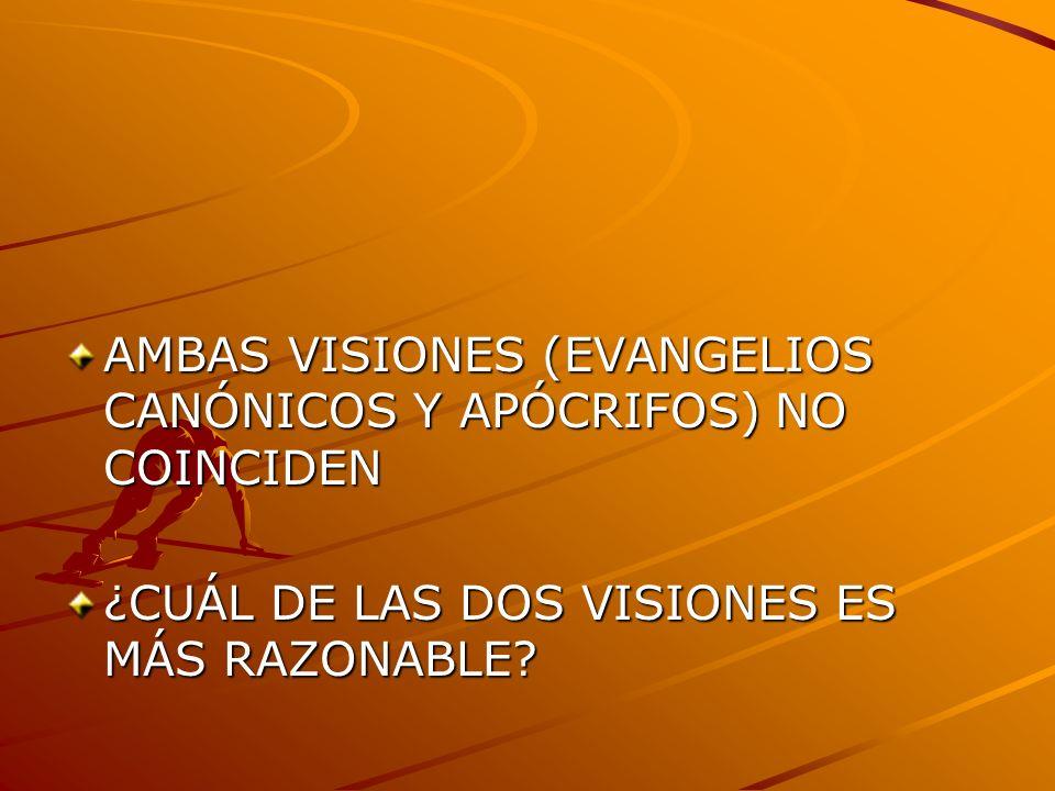 AMBAS VISIONES (EVANGELIOS CANÓNICOS Y APÓCRIFOS) NO COINCIDEN