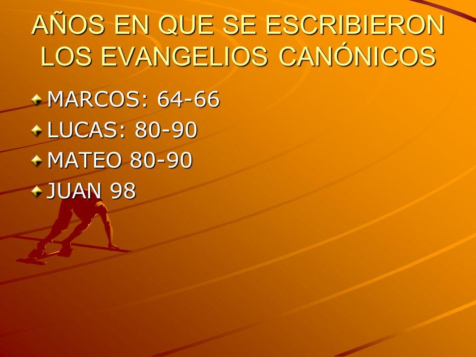 AÑOS EN QUE SE ESCRIBIERON LOS EVANGELIOS CANÓNICOS