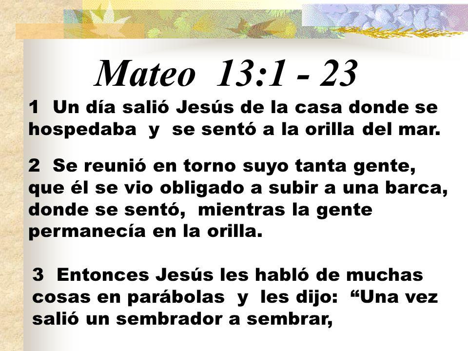Mateo 13:1 - 23 1 Un día salió Jesús de la casa donde se hospedaba y se sentó a la orilla del mar.