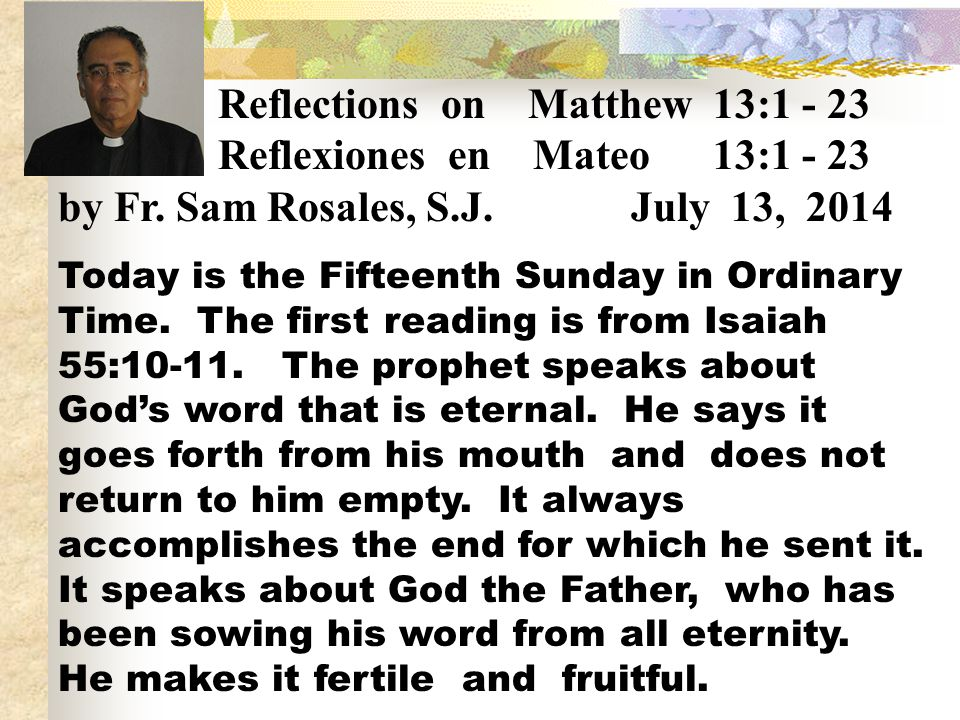 Reflections on Matthew 13:1 - 23