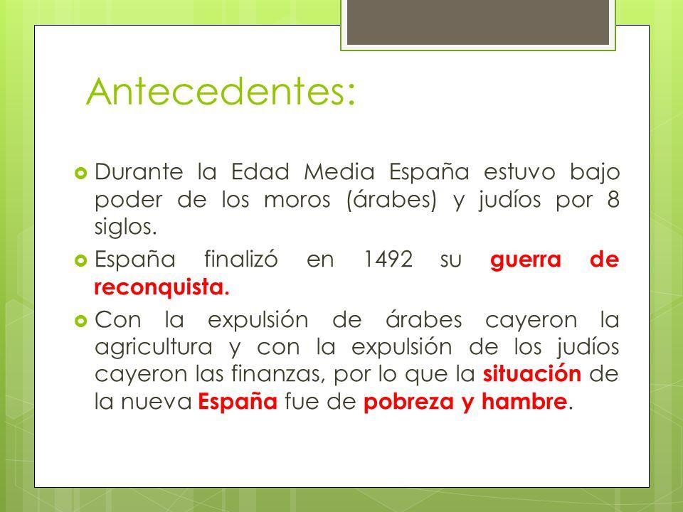 Antecedentes: Durante la Edad Media España estuvo bajo poder de los moros (árabes) y judíos por 8 siglos.