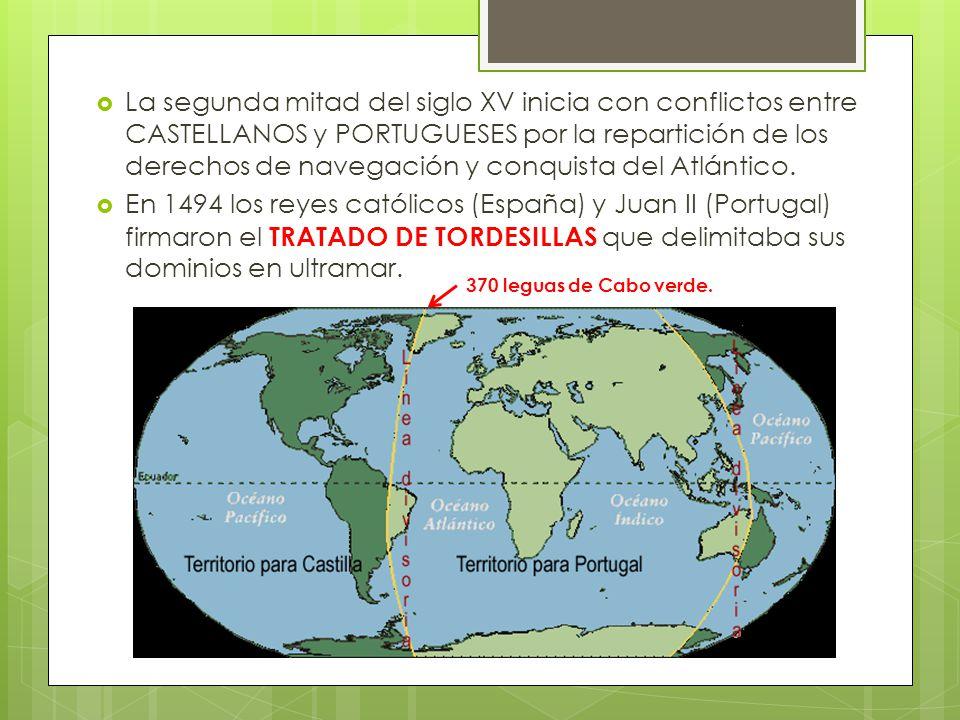 La segunda mitad del siglo XV inicia con conflictos entre CASTELLANOS y PORTUGUESES por la repartición de los derechos de navegación y conquista del Atlántico.