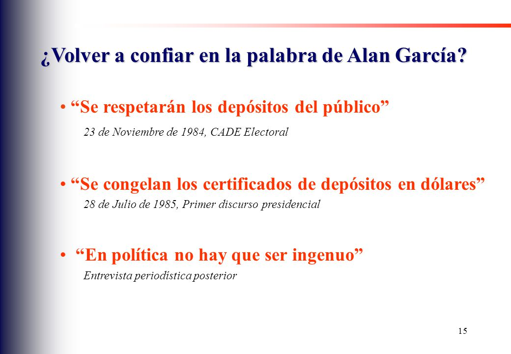 ¿Volver a confiar en la palabra de Alan García