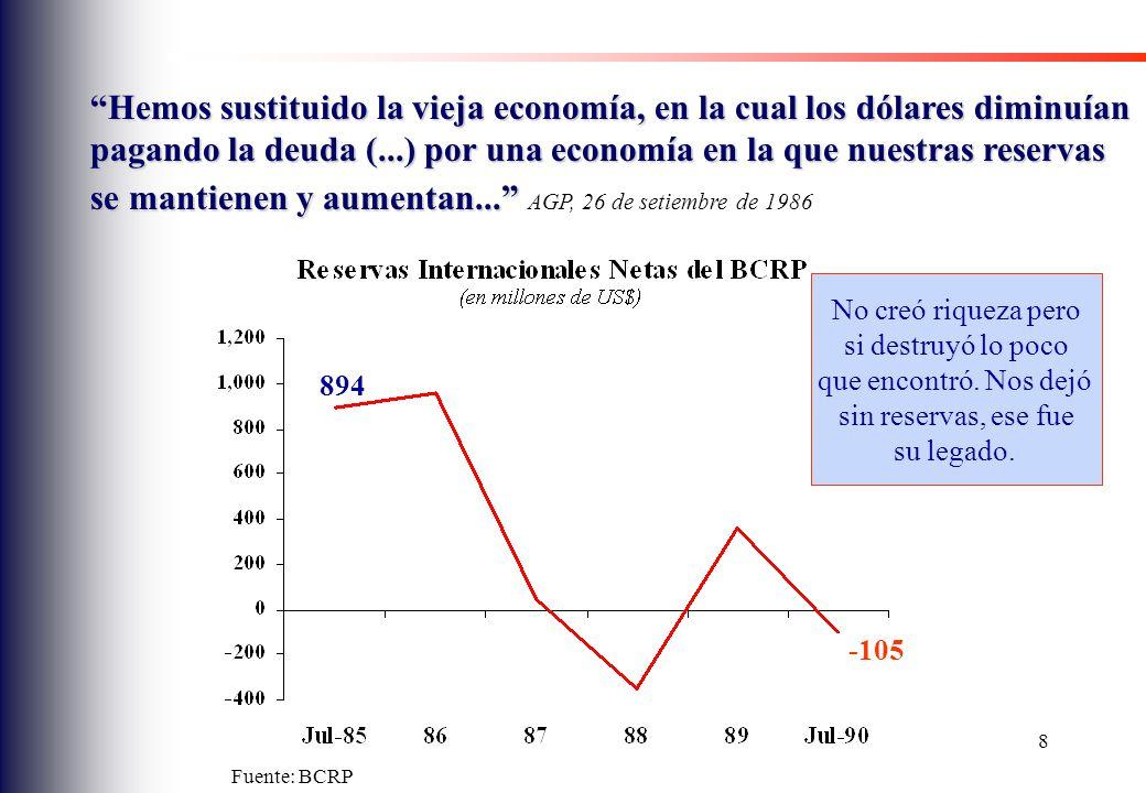 Hemos sustituido la vieja economía, en la cual los dólares diminuían pagando la deuda (...) por una economía en la que nuestras reservas se mantienen y aumentan... AGP, 26 de setiembre de 1986