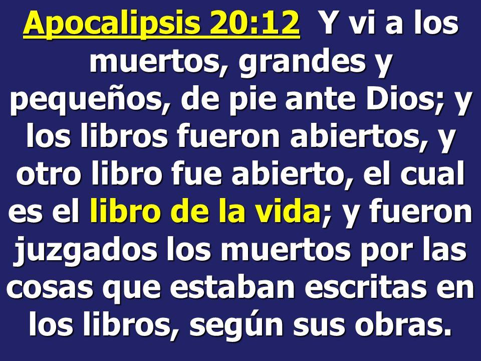 Apocalipsis 20:12 Y vi a los muertos, grandes y pequeños, de pie ante Dios; y los libros fueron abiertos, y otro libro fue abierto, el cual es el libro de la vida; y fueron juzgados los muertos por las cosas que estaban escritas en los libros, según sus obras.