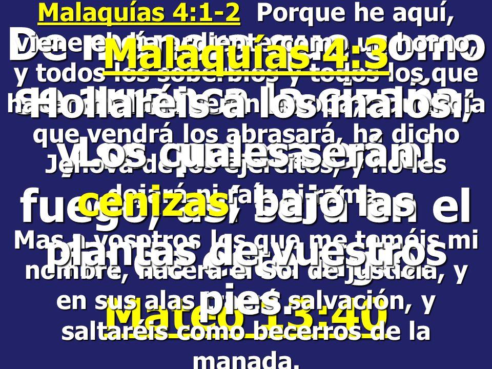 Malaquías 4:1-2 Porque he aquí, viene el día ardiente como un horno, y todos los soberbios y todos los que hacen maldad serán estopa; aquel día que vendrá los abrasará, ha dicho Jehová de los ejércitos, y no les dejará ni raíz ni rama.