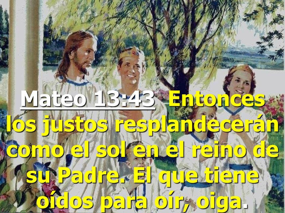 Mateo 13:43 Entonces los justos resplandecerán como el sol en el reino de su Padre.