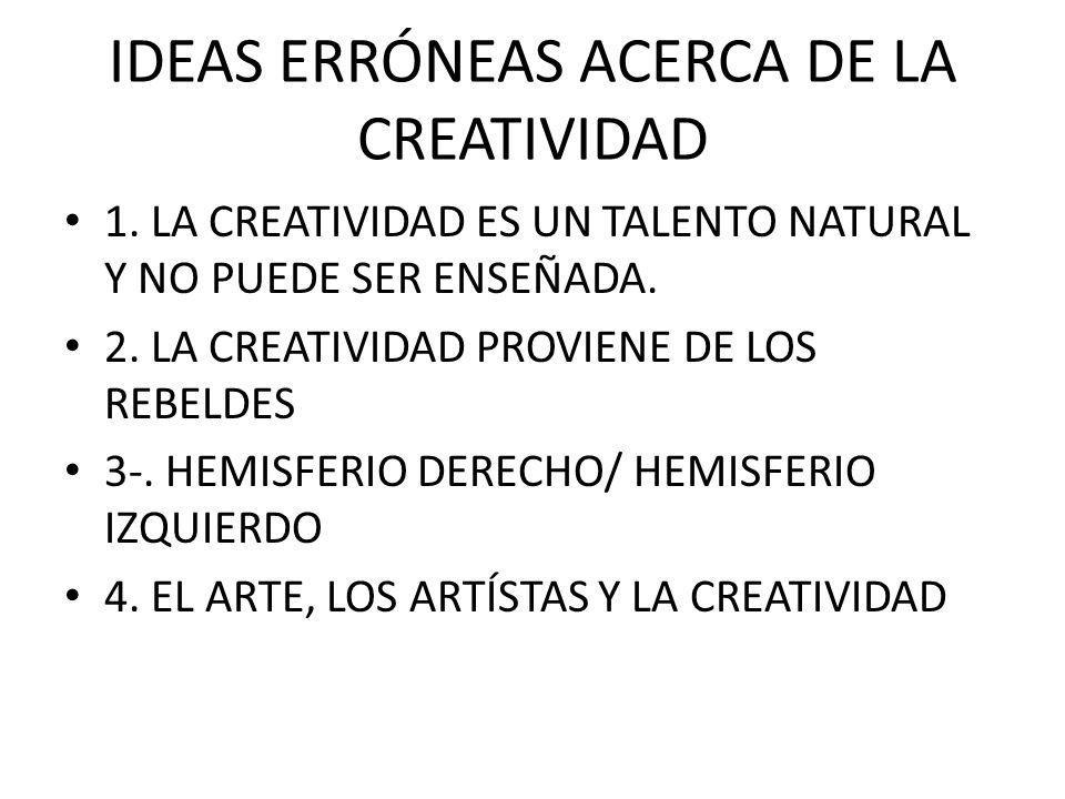 IDEAS ERRÓNEAS ACERCA DE LA CREATIVIDAD