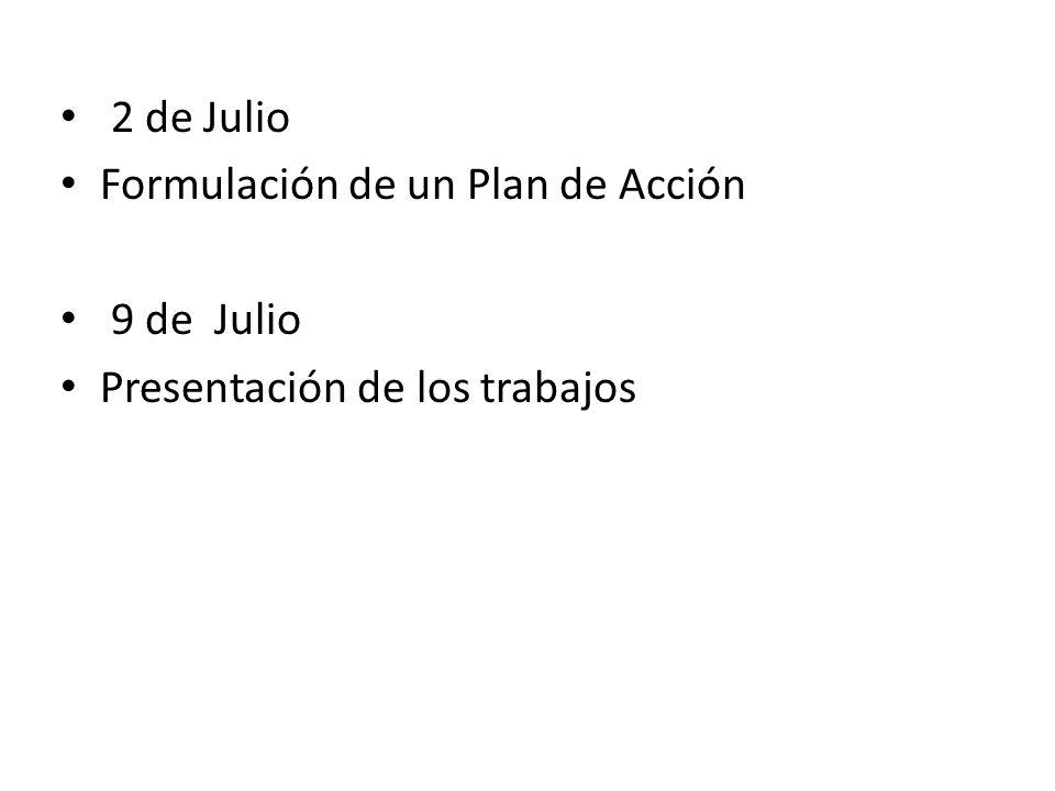 2 de Julio Formulación de un Plan de Acción 9 de Julio Presentación de los trabajos