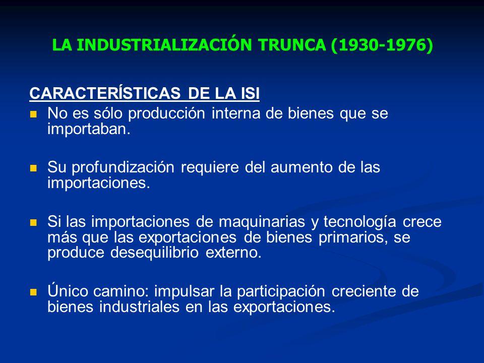 LA INDUSTRIALIZACIÓN TRUNCA (1930-1976)