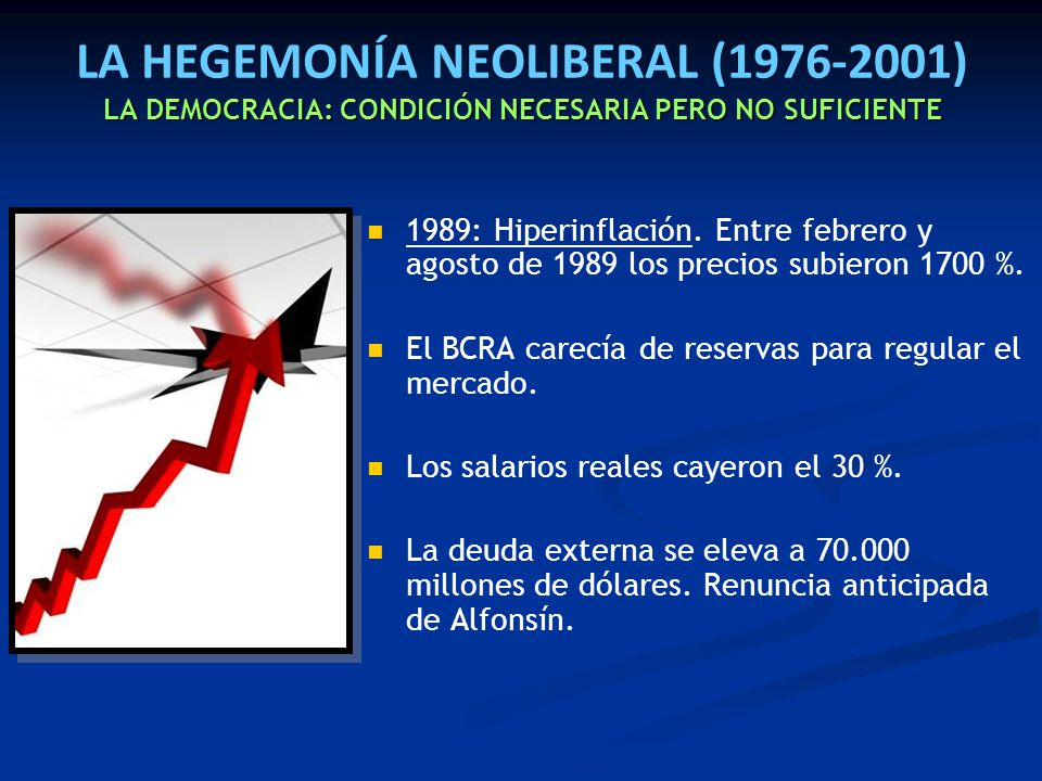 LA HEGEMONÍA NEOLIBERAL (1976-2001) LA DEMOCRACIA: CONDICIÓN NECESARIA PERO NO SUFICIENTE