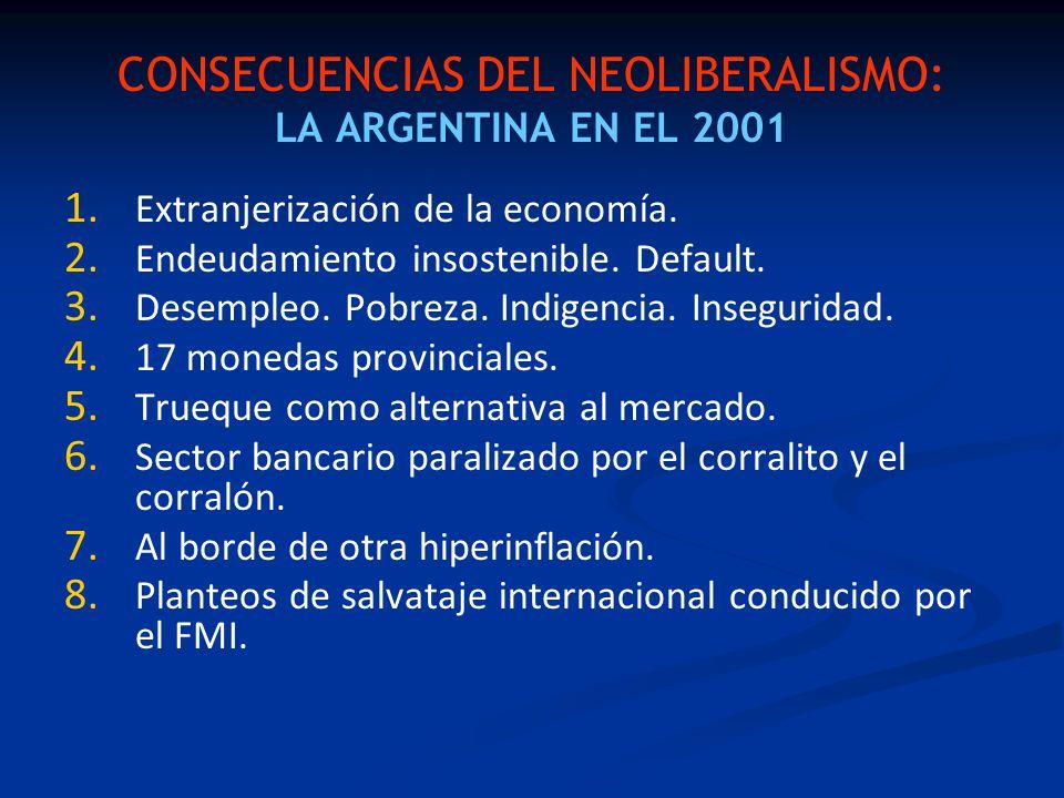 CONSECUENCIAS DEL NEOLIBERALISMO: LA ARGENTINA EN EL 2001