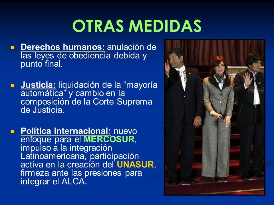 OTRAS MEDIDAS Derechos humanos: anulación de las leyes de obediencia debida y punto final.