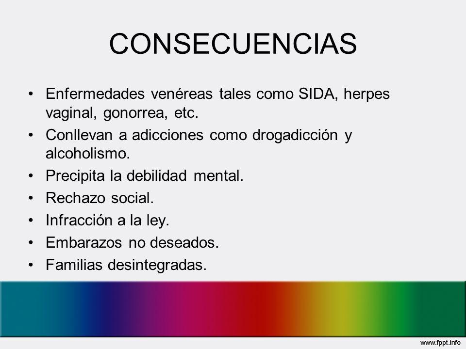 CONSECUENCIAS Enfermedades venéreas tales como SIDA, herpes vaginal, gonorrea, etc. Conllevan a adicciones como drogadicción y alcoholismo.