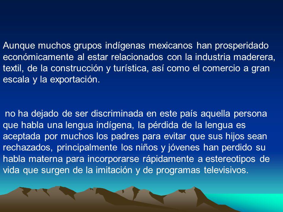 Aunque muchos grupos indígenas mexicanos han prosperidado económicamente al estar relacionados con la industria maderera, textil, de la construcción y turística, así como el comercio a gran escala y la exportación.