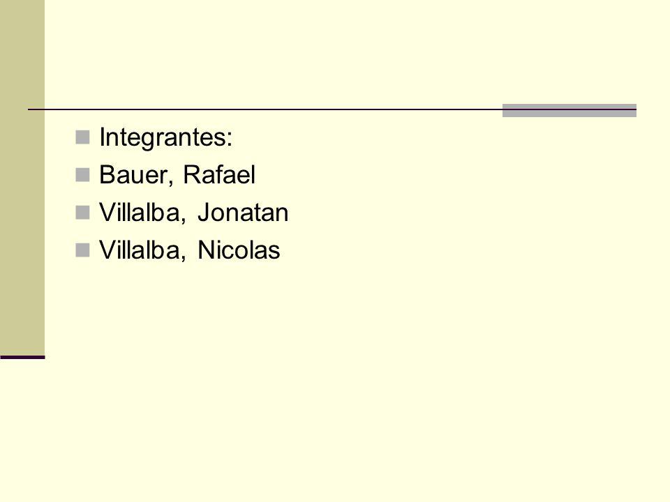 Integrantes: Bauer, Rafael Villalba, Jonatan Villalba, Nicolas