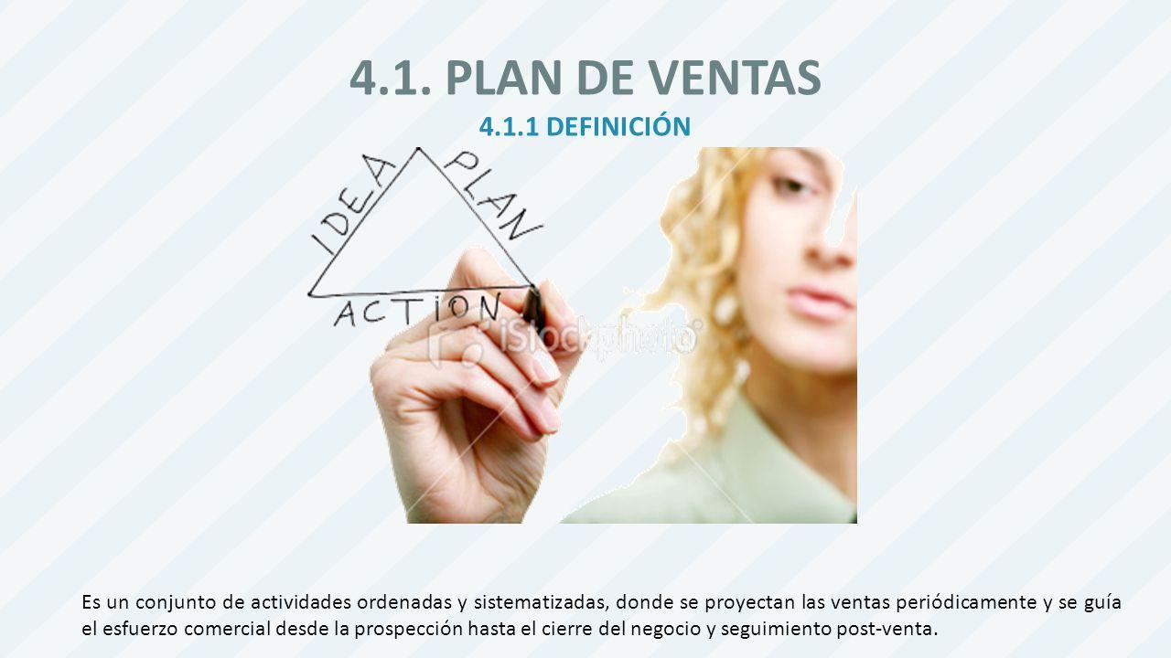 4.1. PLAN DE VENTAS 4.1.1 DEFINICIÓN