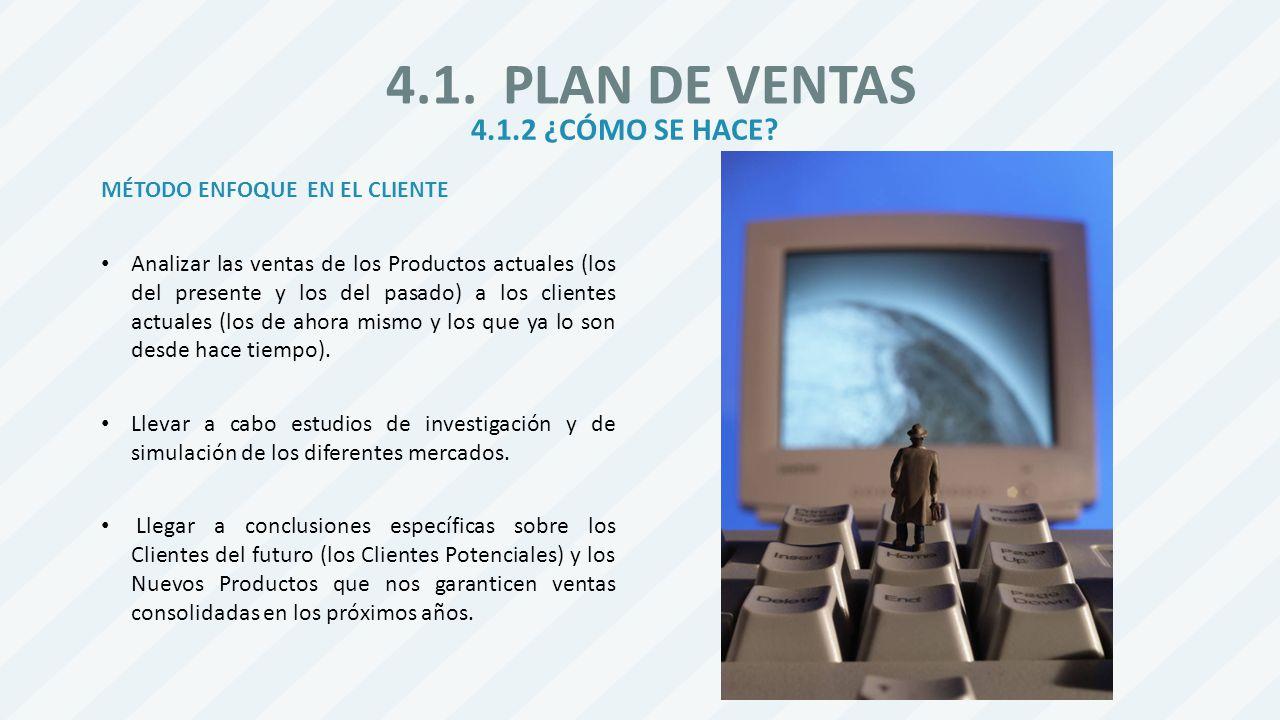 4.1. PLAN DE VENTAS 4.1.2 ¿CÓMO SE HACE MÉTODO ENFOQUE EN EL CLIENTE