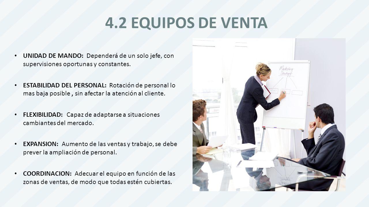 4.2 EQUIPOS DE VENTA UNIDAD DE MANDO: Dependerá de un solo jefe, con supervisiones oportunas y constantes.