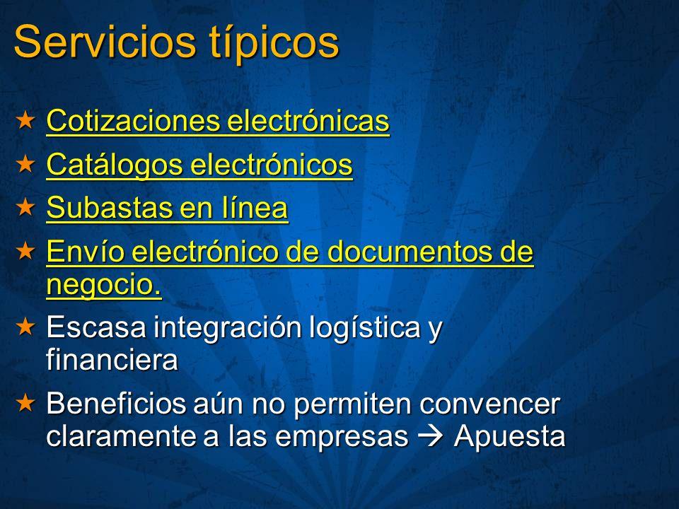Servicios típicos Cotizaciones electrónicas Catálogos electrónicos