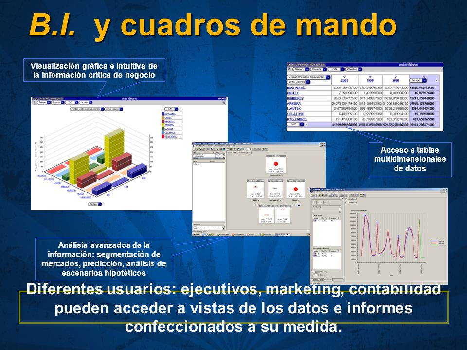 B.I. y cuadros de mando Visualización gráfica e intuitiva de la información crítica de negocio.