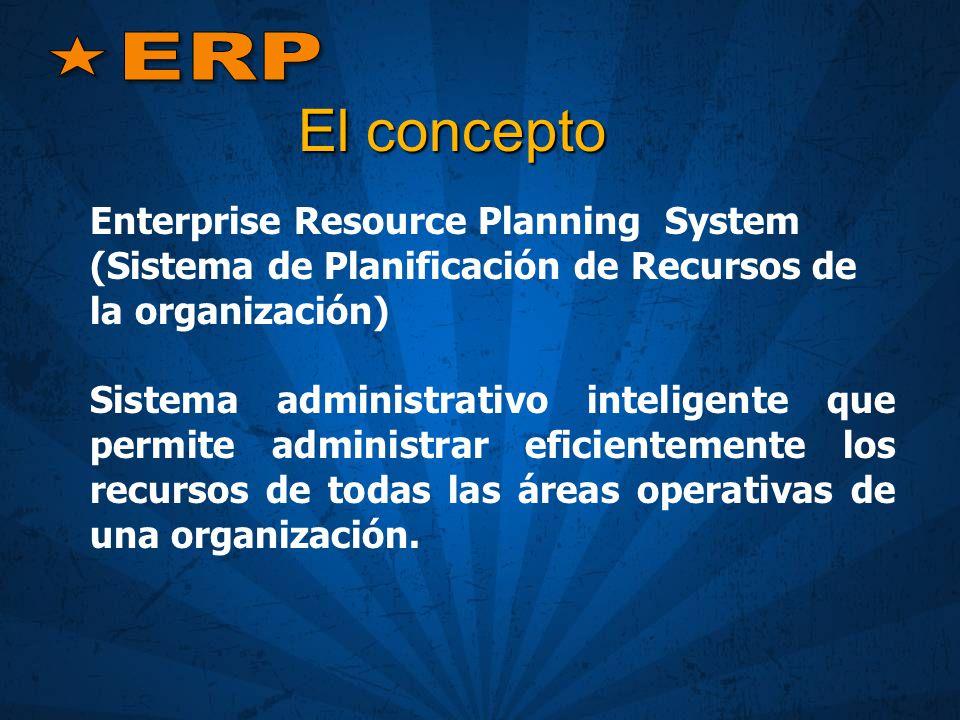 ERP El concepto. Enterprise Resource Planning System (Sistema de Planificación de Recursos de la organización)