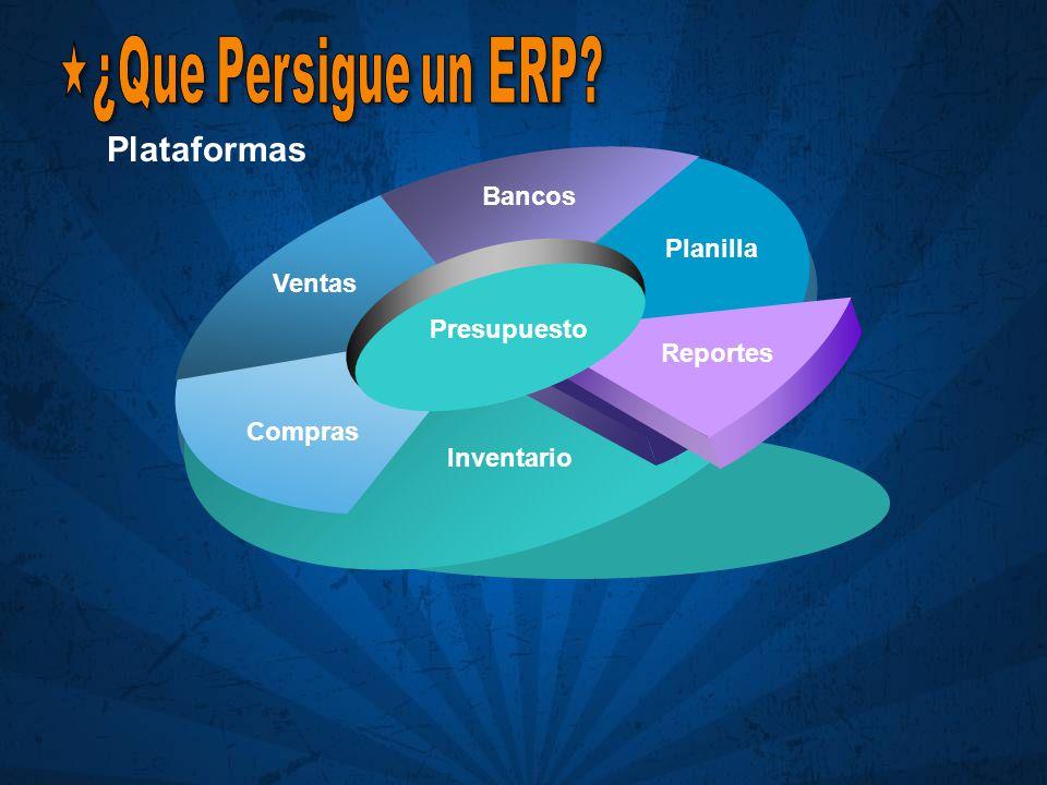 Plataformas ¿Que Persigue un ERP Bancos Planilla Ventas Presupuesto