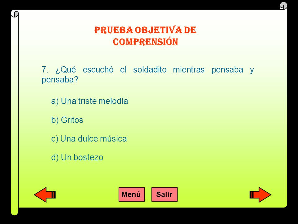 PRUEBA OBJETIVA DE COMPRENSIÓN