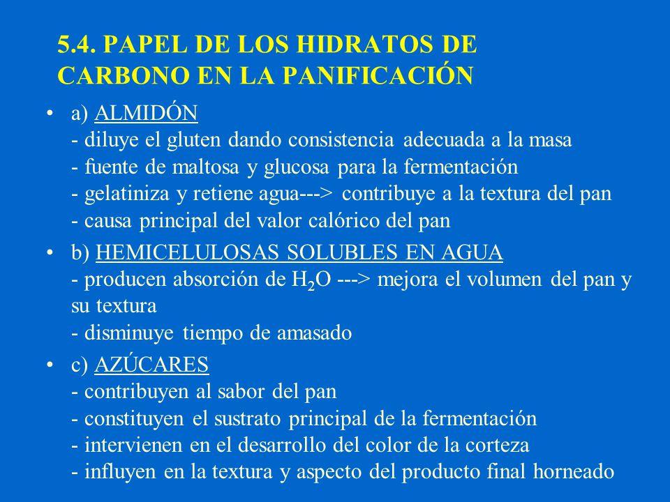 5.4. PAPEL DE LOS HIDRATOS DE CARBONO EN LA PANIFICACIÓN