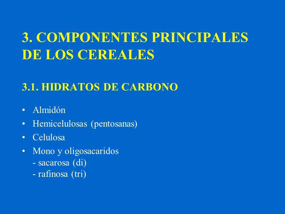 3. COMPONENTES PRINCIPALES DE LOS CEREALES 3.1. HIDRATOS DE CARBONO