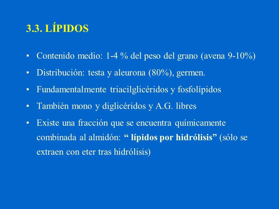 3.3. LÍPIDOS Contenido medio: 1-4 % del peso del grano (avena 9-10%)