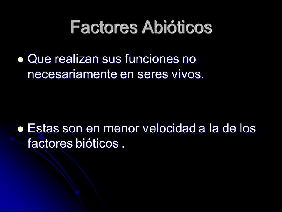 Factores Abióticos Que realizan sus funciones no necesariamente en seres vivos.