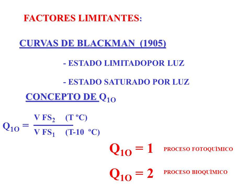 Q1O = 1 Q1O = 2 FACTORES LIMITANTES: CURVAS DE BLACKMAN (1905)