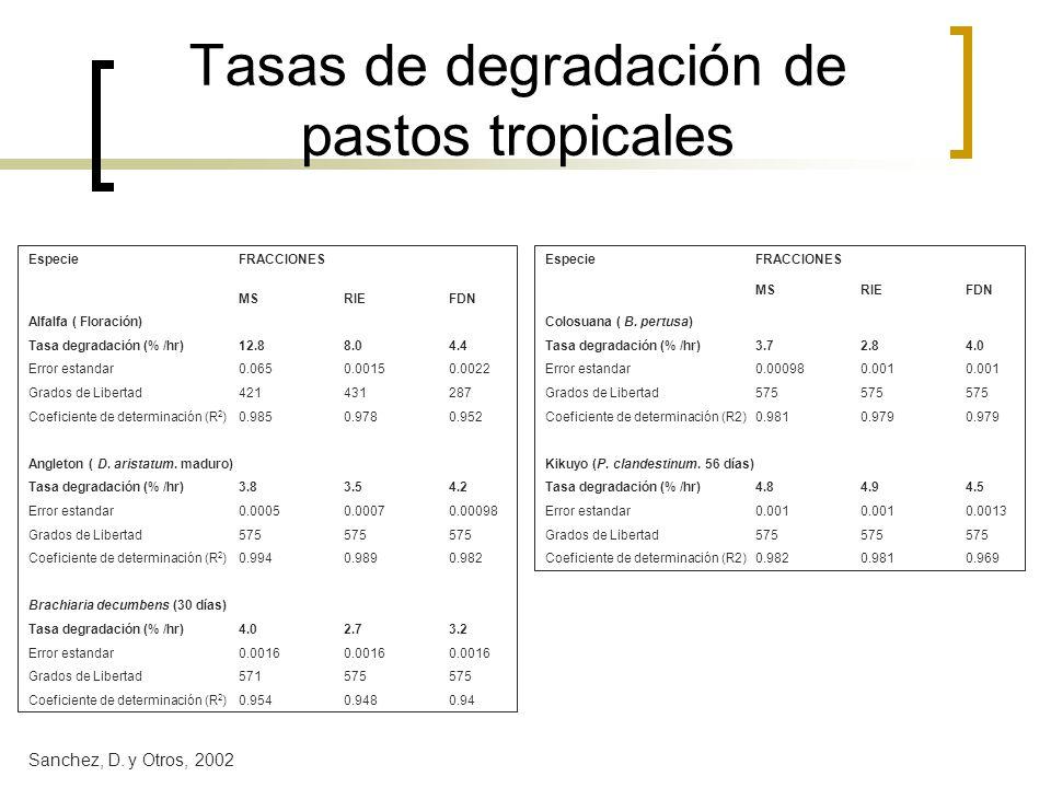 Tasas de degradación de pastos tropicales