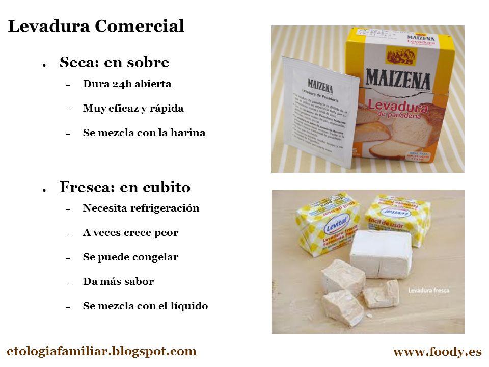 Levadura Comercial Seca: en sobre Fresca: en cubito